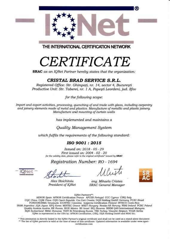 Certificat ISO 9001 2015 Cristal Brad lb.engleza