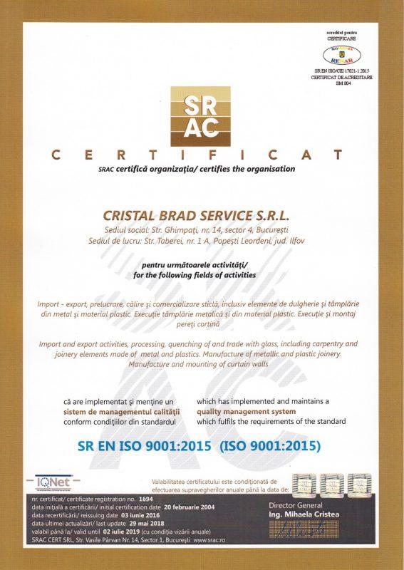 Certificat ISO 9001 2015 Cristal Brad lb.romana
